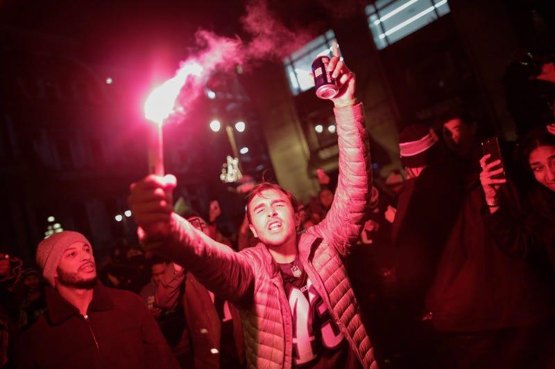 Philadelphia Eagles fans in that city celebrate their team's victory Feb. 4, 2018, in Super Bowl LII against the New England Patriots. (Eduardo Munoz Alvarez/Getty Images)