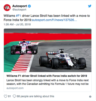 Illustration for article titled Lance Stroll to Force India?