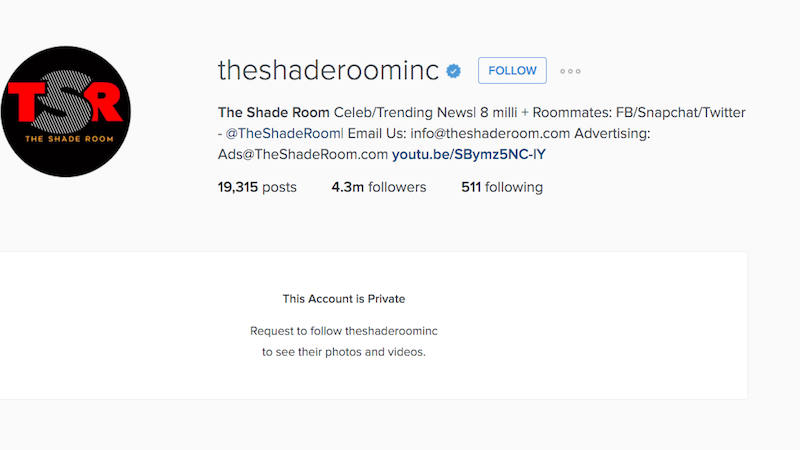 Illustration for article titled Facebook Deletes The Shade Room's Account [UPDATED]