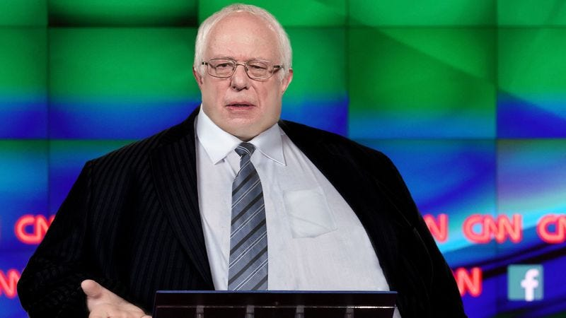 Illustration for article titled Bloated, Rotund Bernie Sanders Reveals He Has Finished Drinking All Of Flint's Water Supply