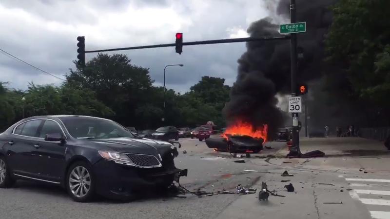 Videos Show Chaotic Aftermath Of Crash That Split Lamborghini