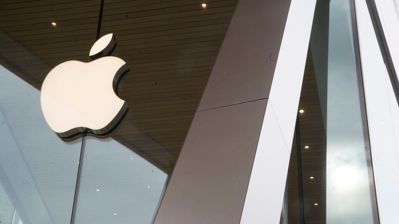 The Apple logo is displayed at the Apple store in the Brooklyn borough of New York.