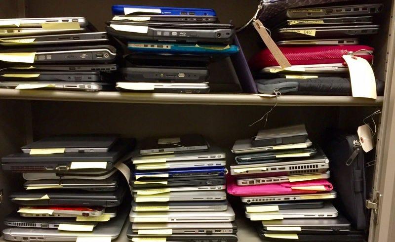Laptops extraviados en los controles de seguridad. Foto: TSA