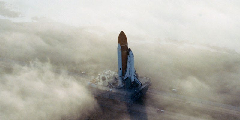 Illustration for article titled A Foggy Morning Adds Surrealism to the Wonder of Spaceflight