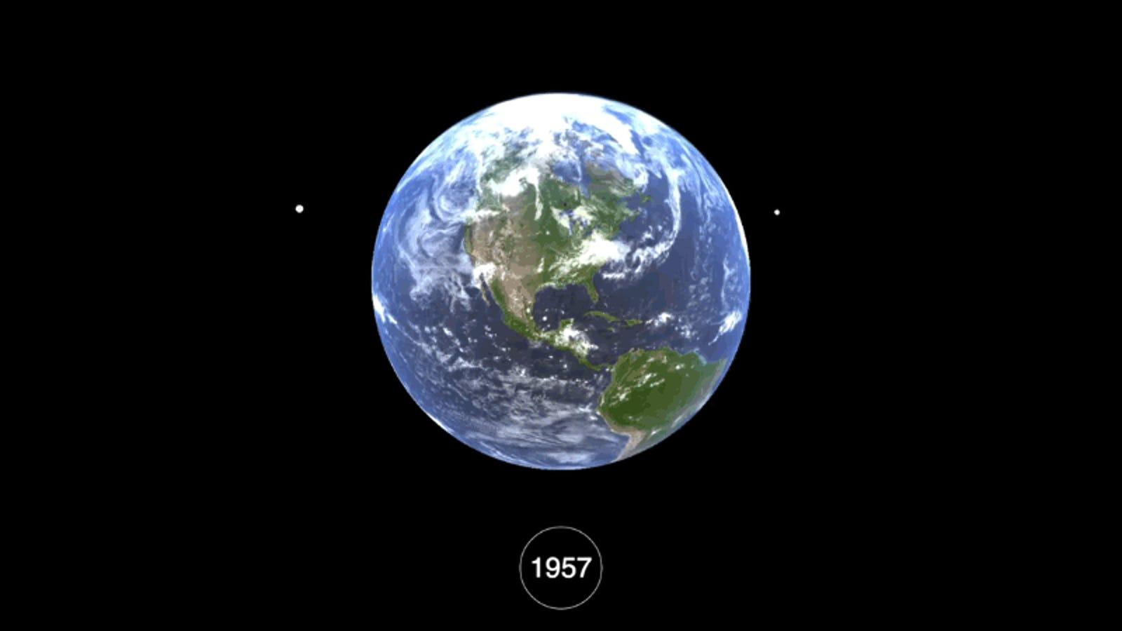 Seis décadas de basura espacial resumidas en una brutal visualización interactiva