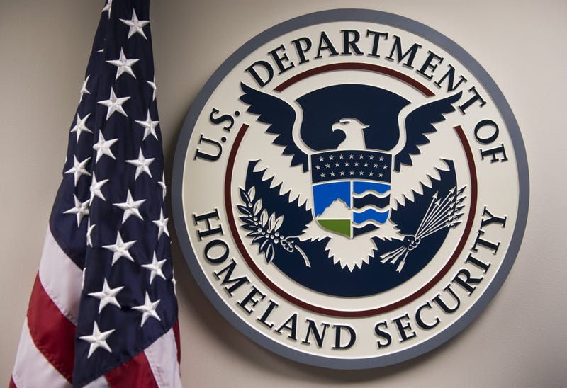 The logo of the U.S. Department of Homeland Security is seen at the National Cybersecurity and Communications Integration Center in Arlington, Va., on Jan. 13, 2015.SAUL LOEB/AFP/Getty Images