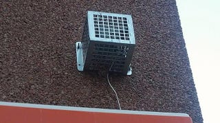 A Mosquito noise device mounted on a 7/11 convenience store in Philadelphia, 2018.