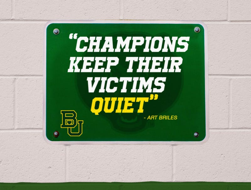 Illustration for article titled Baylor Removes Sign Above Locker Room Door Featuring Motivational Art Briles Quote