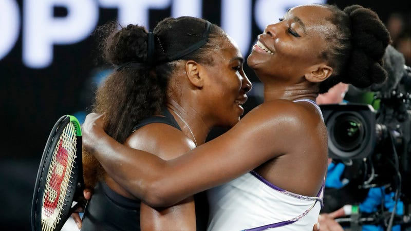 Venus and Serena at the Australian Open in January. Image via the AP.