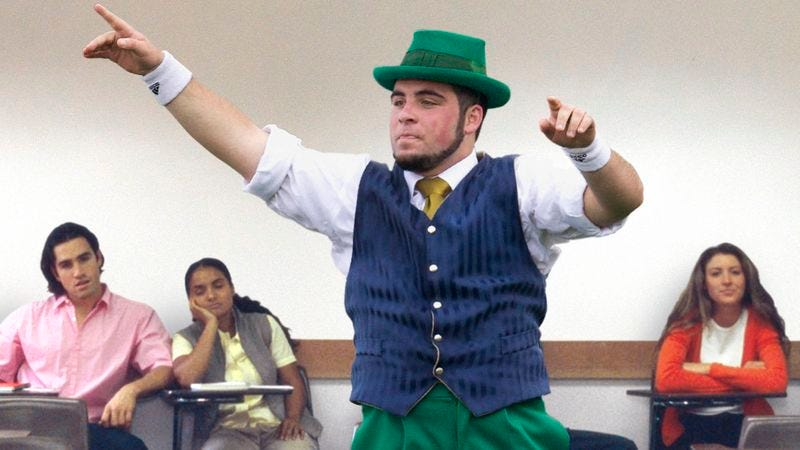 Illustration for article titled Linguistics Professor Tells Notre Dame Leprechaun To Sit The Fuck Down In Class