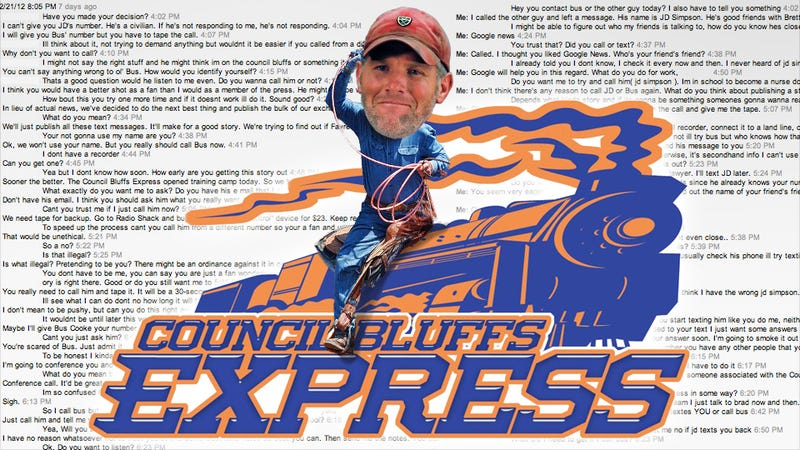"""Illustration for article titled The Strange And Feverish Saga Of The Tipster Who Had """"Huge Brett Favre News"""" For Us"""