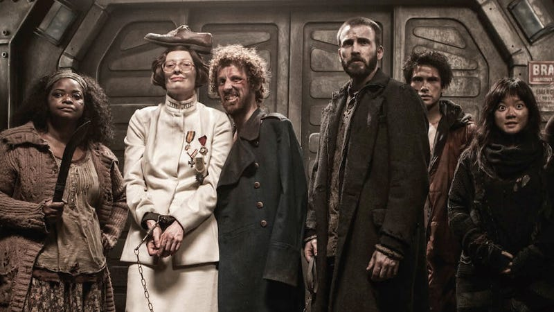 The raggedy cast of Bong Joon-ho's Snowpiercer film.