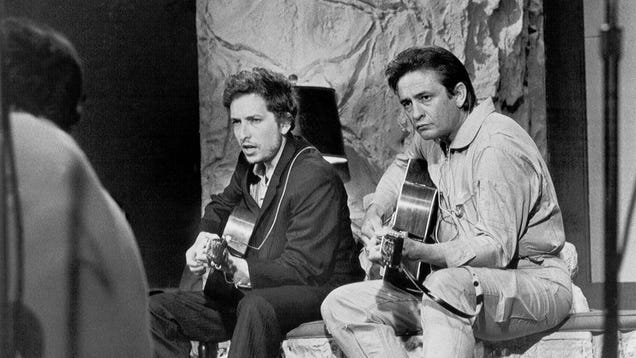 Heres Bob Dylan and Johnny Cash being pals and singing an early demo of Wanted Man