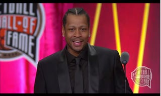 Allen Iverson giving his Hall of Fame induction speech on Sept. 9, 2016, in Springfield, Mass.Screenshot