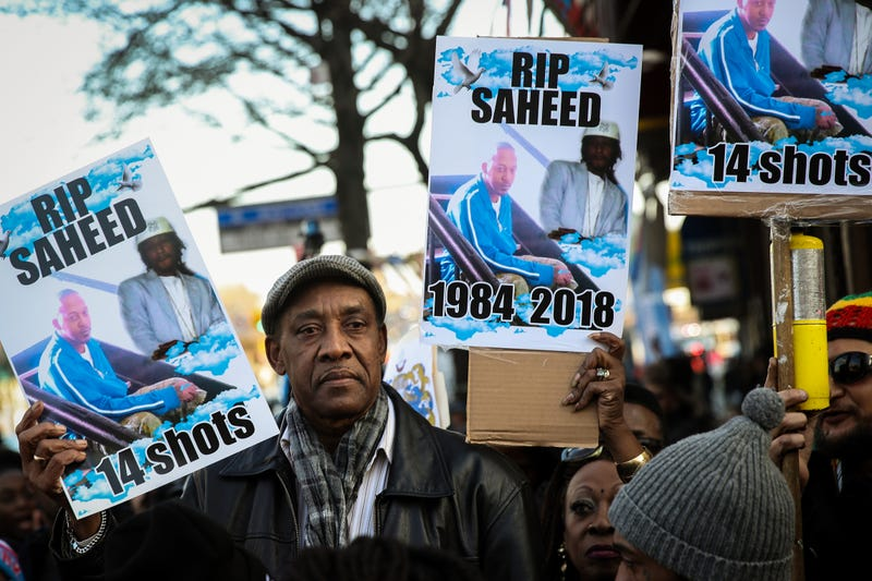 Eric Vassell, father of Saheed Vassell, makes an appearance at a rally in protest of the police-inflicted shooting death of his son Saheed Vassell, in the Crown Heights neighborhood of New York City borough Brooklyn on April 5, 2018.