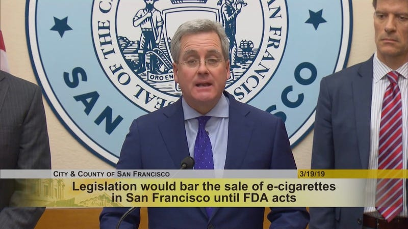 San Francisco City Attorney Dennis Herrera at a press conference on Tuesday announcing the proposal to ban e-cigarettes in the city