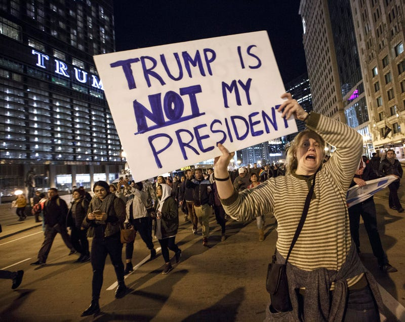 Demonstrators protest outside the Trump Tower in Chicago on Nov. 9, 2016. John Gress/Getty Images