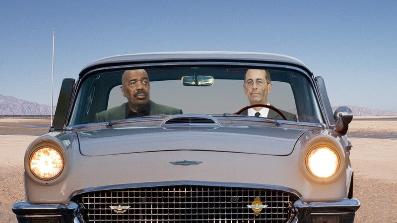 Steve Harvey and Jerry Seinfeld looking emaciated and sick in a 1965 Thunderbird.