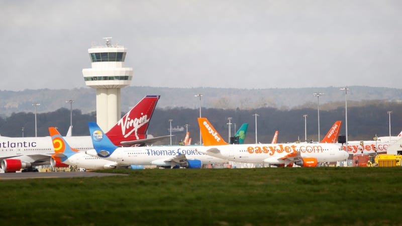 Airplanes stand idle at London's Gatwick Airport, England, Friday, April 16, 2010.