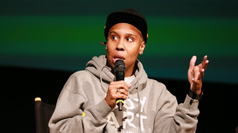 """Lena Waithe speaks to the crowd during BET's """"Boomerang"""" Emmy FYC Screening Event on May 09, 2019 in Hollywood, California."""