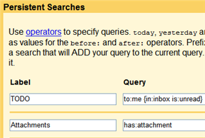 Build advanced Gmail filters and persistent searches