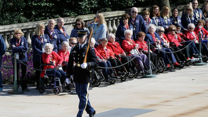 Former Rosie the Riveters watch the Changing of the Guard ceremony at the Tomb of the Unknown Soldier at Arlington National Cemetery, Tuesday, March 22, 2016 in Arlington, Va. Photo: AP Images.