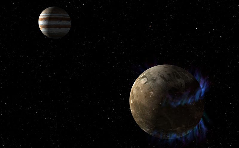Ganymede and its auroras, with Jupiter in the background.