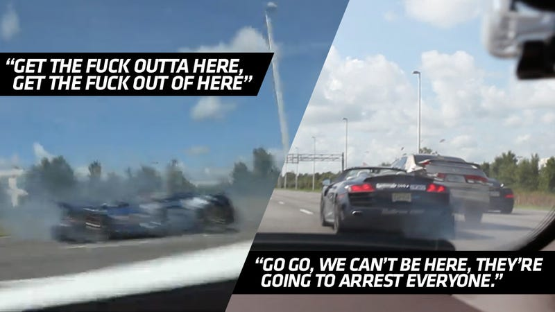 Illustration for article titled EXCLUSIVE: Uncut Ice-T Audi R8 Crash Video Shows Coward Lambo Drivers