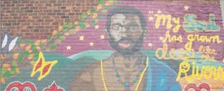 "The 2009 ""Harlem River"" mural, depicting Jan Rodrigues in Manhattan, New York City.Photo Courtesy Creative Art Works"
