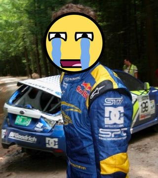 Illustration for article titled Travis Pastrana In Multi-Roll Accident At 100 Acre Wood Rally