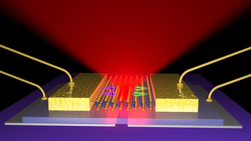 Illustration for article titled Desarrollan un LED flexible cuyo grosor es de solo tres átomos