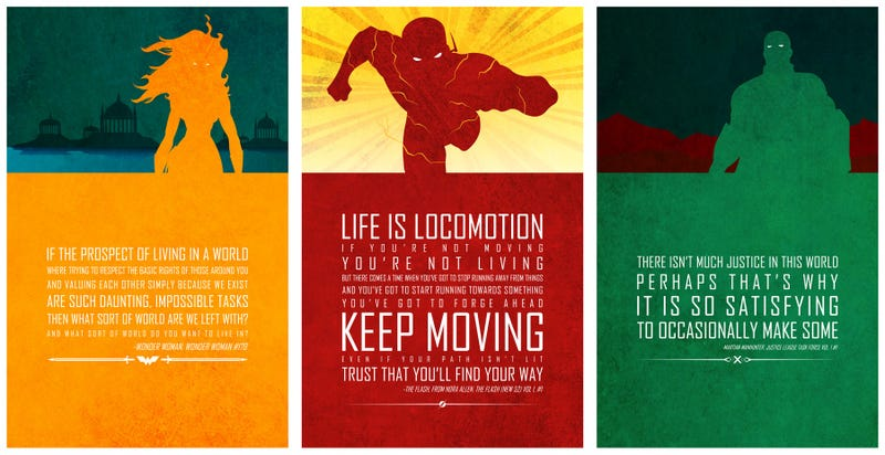 Illustration for article titled These Cut-Out Style Posters Show the Inspirational Side of Superheroes