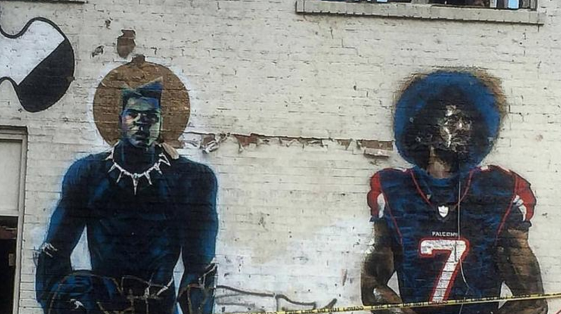 Illustration for article titled Days Before the Super Bowl, Colin Kaepernick Mural in Atlanta is Destroyed