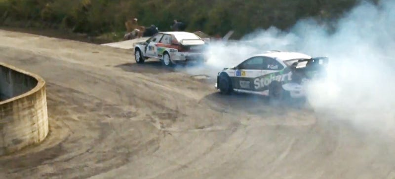 Illustration for article titled Rally Stage Turns Into Audi Quattro vs Ford Focus RS Drift Battle