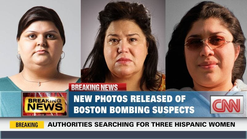 Illustration for article titled CNN Releases Photos Of 3 Obese Mexican Women Suspected In Boston Bombing