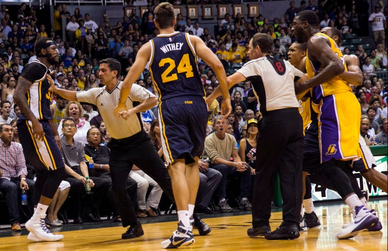"""Illustration for article titled Roy Hibbert And Trevor Booker Had A """"Fight"""""""