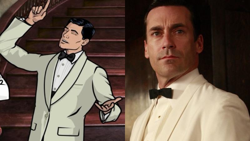 Archer, alongside Hamm as he appeared in Mad Men.