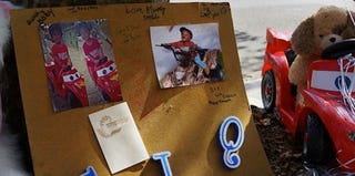 A memorial near where 1-year-old Antiq Hennis was killed (Spencer Platt/Getty Images)