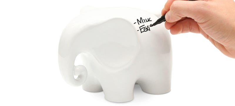 Illustration for article titled An Erasable Whiteboard Elephant That Never Forgets Your Grocery List