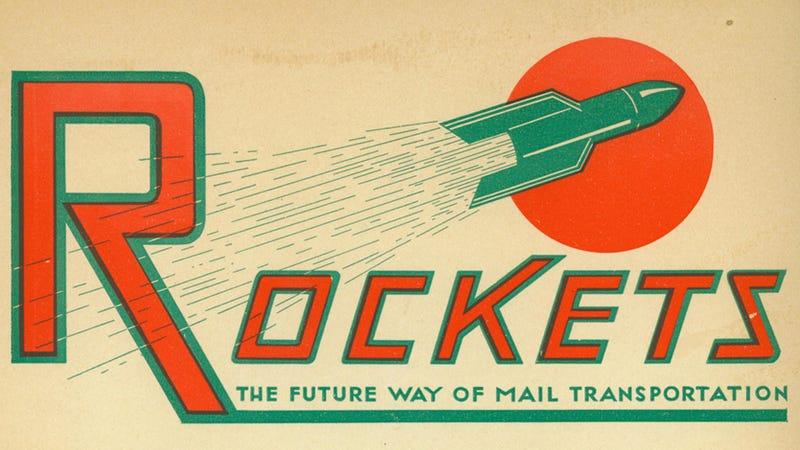 Illustration for article titled The 1935 plan to use rocket airplanes to deliver US mail