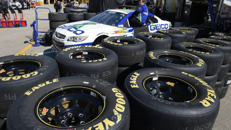 Illustration for article titled Are NASCAR Teams Drilling Holes In Their Own Tires?