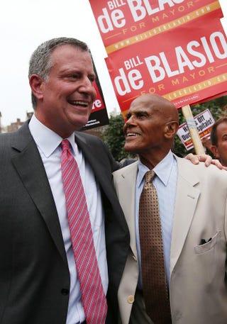Bill de Blasio and Harry BelafonteMario Tama/Getty Images