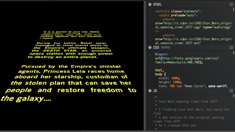Illustration for article titled Awesome Guy Re-Created the Star Wars Opening Crawl with HTML and CSS