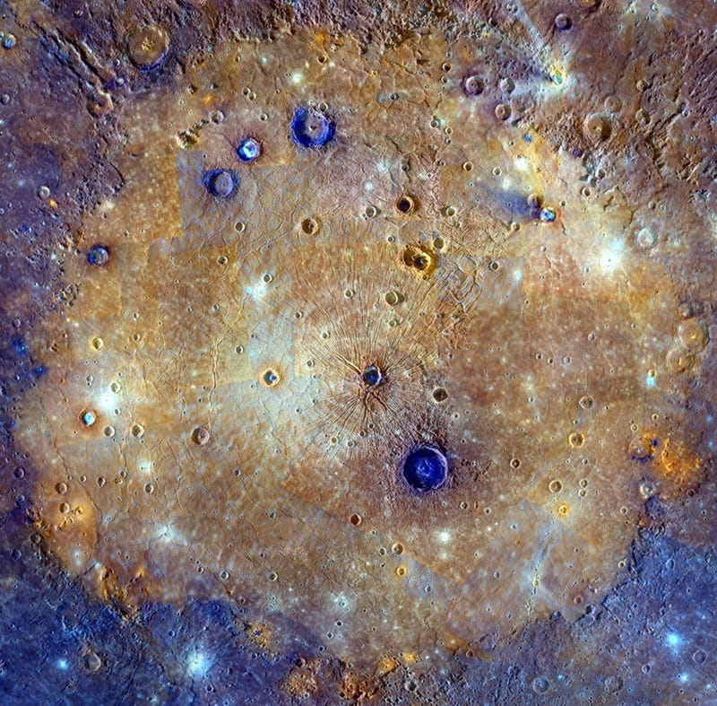 Illustration for article titled A Color-Saturated Look At Mercury's Massive, Ancient Caloris Basin
