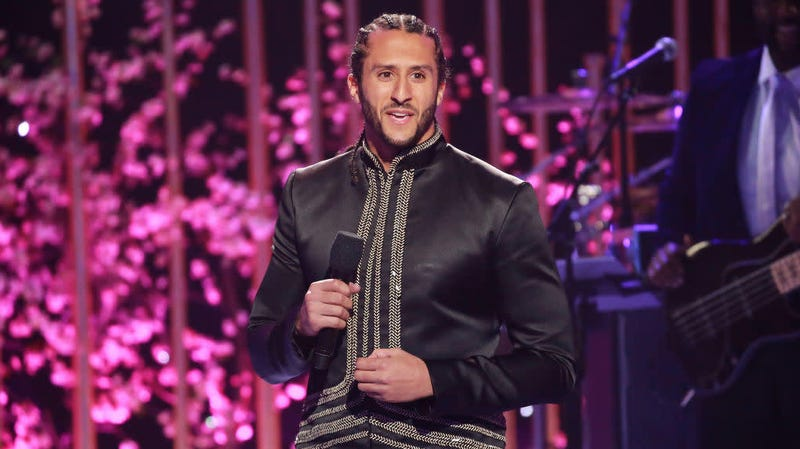 Colin Kaepernick onstage during a VH1 broadcast May 3, 2018, in Los Angeles