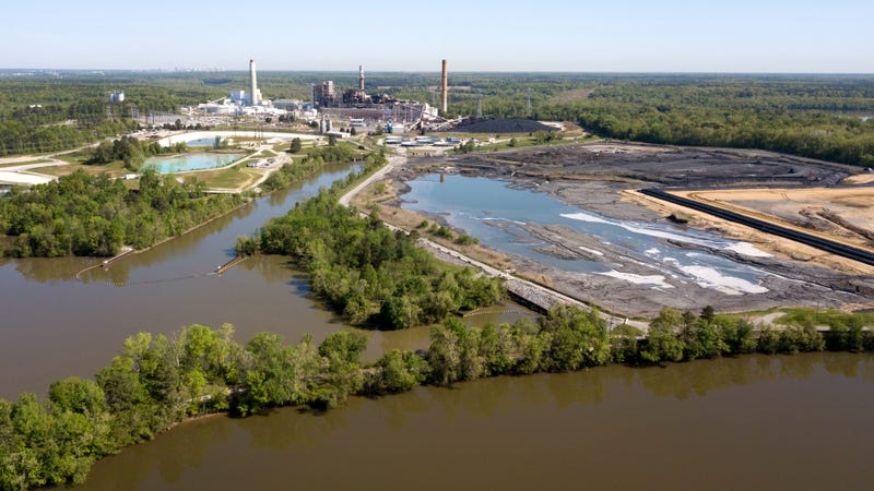 Some coal ash ponds at Dominion Energy's Chesterfield Power Station in Chester, Virginia.