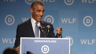President Barack Obama speaks at the Democratic National Committee's Women's Leadership Forum Sept. 19, 2014, in Washington, D.C. Nicholas Kamm/Getty Images