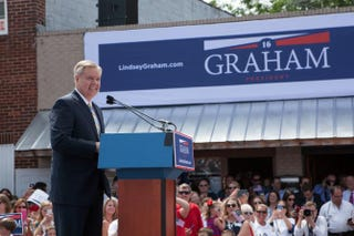 Sen. Lindsey Graham (R-S.C.) gives a speech announcing his candidacy for the presidency during an outdoor event  June 1, 2015, in Central, S.C.Jessica McGowan/Getty Images