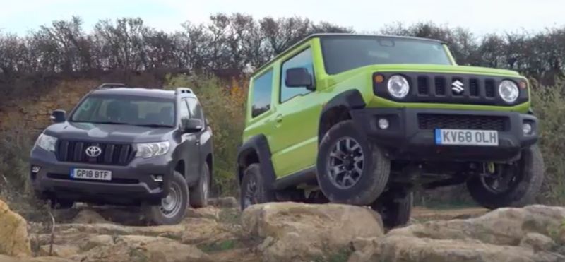 Illustration for article titled Watch The 2019 Suzuki Jimny Go Toe-To-Toe Off-Road With a Toyota Land Cruiser Utility