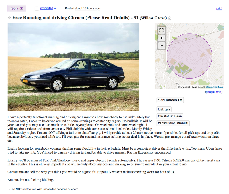 Someone on Philadelphia Craigslist Will Give You a Free